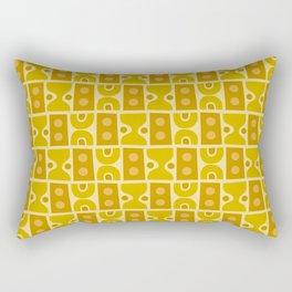 Mid Century Abstract Pattern Yellow Ochre Rectangular Pillow