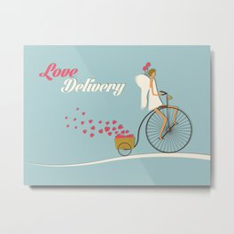 Love Delivery. Cupid on the bike, retro style design Metal Print