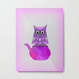 Hoo Loves Tea Metal Print