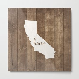 California is Home - White on Wood Metal Print