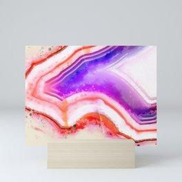 Purple Pink Orange Hue Sliced Agate Stone Rock Geode Mini Art Print