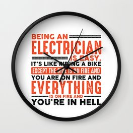 Being a Pilot Is Easy Shirt Everything On Fire Wall Clock