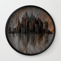 metropolis Wall Clocks featuring Metropolis by Robin Curtiss