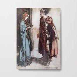 Arthur Rackham - Siegfried and the Twilight of the Gods (1911) - Siegfried and Gutrune Metal Print