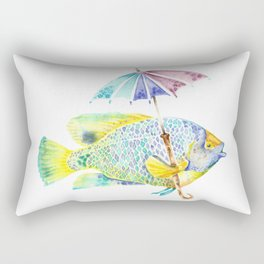 Fishy Fish - Original Watercolor of Yellow Mask Angel Fish with Umbrella Rectangular Pillow