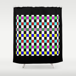 Retro 3 - Abstract, multicoloured, bold, chekkered, checkered pattern Shower Curtain