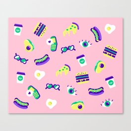 Avocados pizza and phone calls Canvas Print