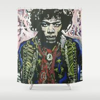 woodstock Shower Curtains featuring Up From the Skies by Matt Pecson