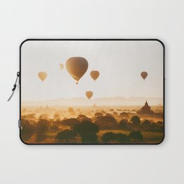 Hot-Air Balloons Flying Over Bagan Pagodas in Myanmar (Burma) Laptop Sleeve