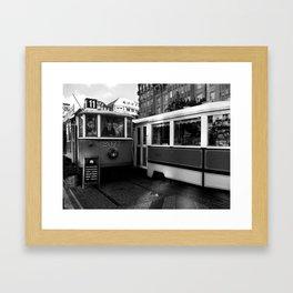Cafe in the tram in the historical part of Prague. Framed Art Print