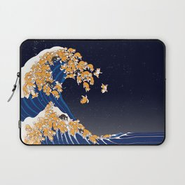 Shiba Inu The Great Wave in Night Laptop Sleeve