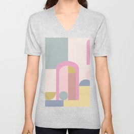 Modern Pastel Architecture Shapes in Pink, Yellow, and Blue Unisex V-Neck