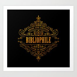 Gold Bibliophile on Black Art Print