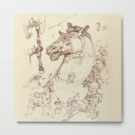 Leonardo Da Vinci, The Four Horses of Apollo Metal Print