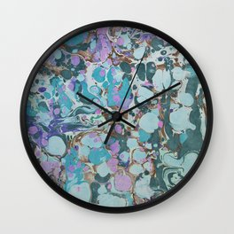 Aquabubble marbleized print Wall Clock