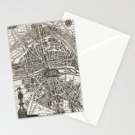 PARIS Old map Stationery Cards