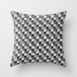 Rustic Mauve Brown and Black Patchwork Throw Pillow