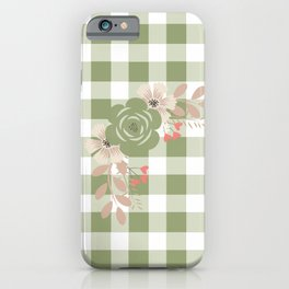 Floral Green Plaid iPhone Case