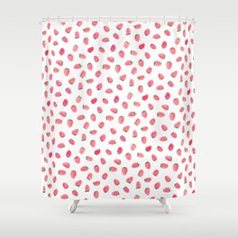 Strawberry Patch Watercolor Pattern Shower Curtain
