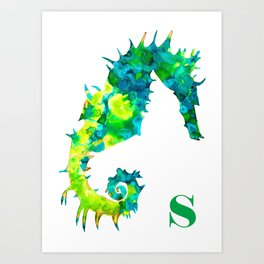 S is for Seahorse (green) Art Print
