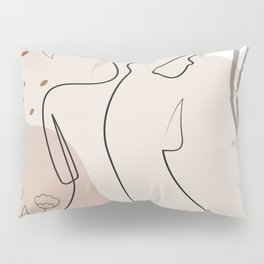 Set of naked woman sitting back one line. Poster cover. Minimal woman body. One line drawing. No 2/3 Pillow Sham
