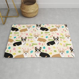 Corgi easter dog breed pattern pet art tricolored and red corgis easter portrait Rug
