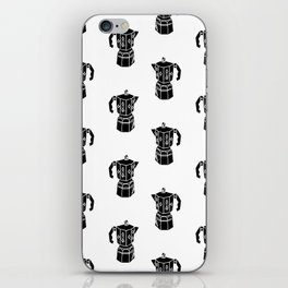 Moka Coffee Pot coffee lover black and white minimal modern kitchen linocut art iPhone Skin