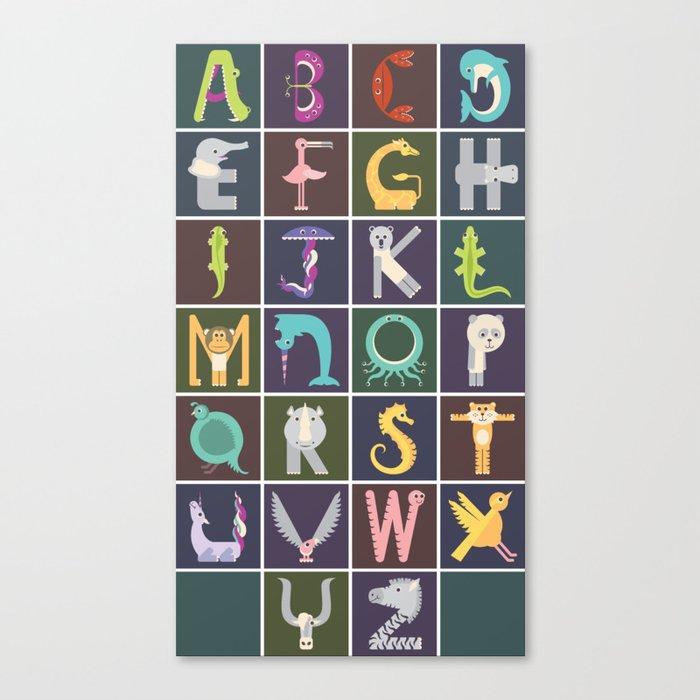 Vertical Animal Alphabet (Complete Poster) Canvas Print