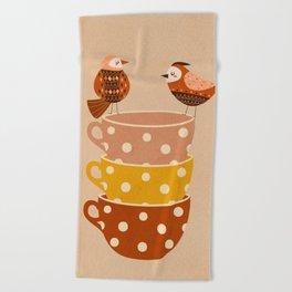 Birds and Teacups Beach Towel