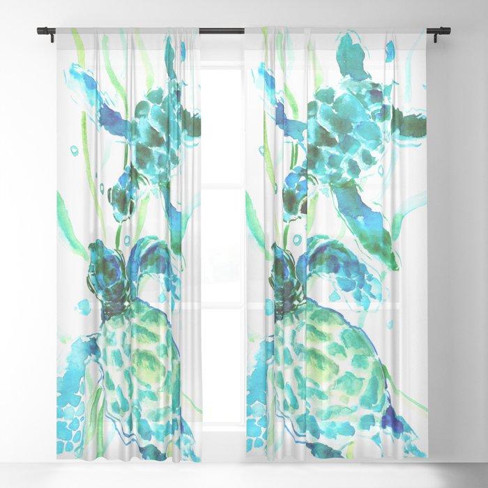 Sea Turtles, Turquoise blue Design Sheer Curtain