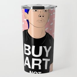 Buy Art, Not Cocaine - Dude with Blue Hair Typography Digital Drawing Travel Mug