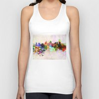 cincinnati Tank Tops featuring Cincinnati skyline in watercolor background by Paulrommer