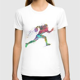 Football Player Sports Art Print Watercolor Print American Football T-shirt