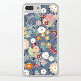 Colorful flowers on a denim background. Clear iPhone Case