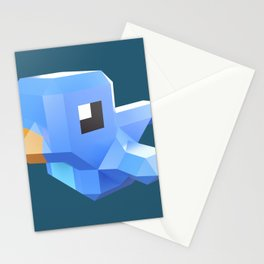 Cute low-poly Twitter bird character Stationery Cards