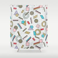 toddler Shower Curtains featuring Modern Memphis Inspired Geometric Gold Pattern by Season of Victory