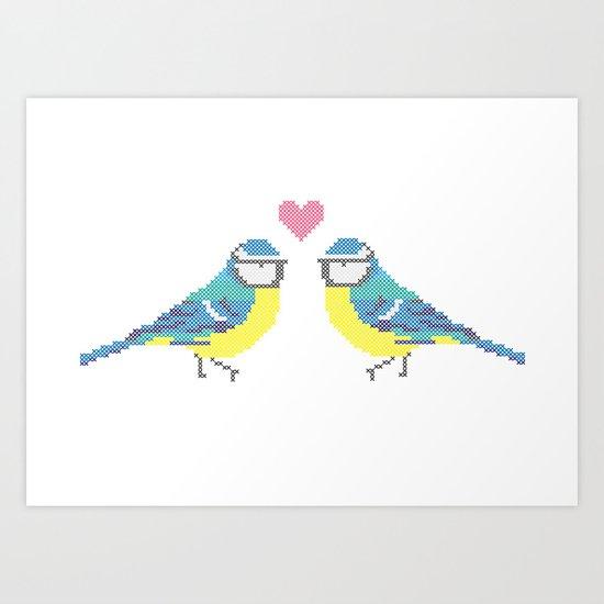 Stitch X Birds Art Print