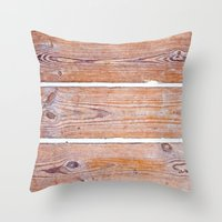 wooden Throw Pillows featuring Wooden Boards by Patterns and Textures