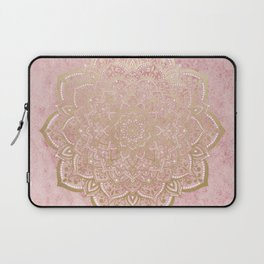 MOON DANCE MANDALA IN GOLD AND PINK Laptop Sleeve