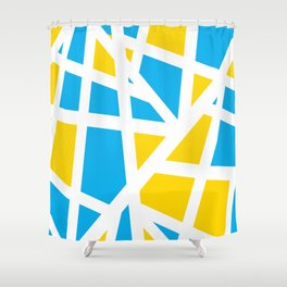 Abstract Interstate  Roadways Aqua Blue & Yellow Color Shower Curtain