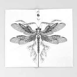 Dragon Fly Tattoo Black and White Throw Blanket