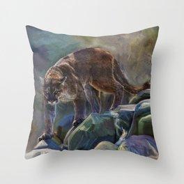 The Mountain King - Cougar Wildlife Art Throw Pillow