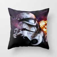 stormtrooper Throw Pillows featuring Stormtrooper by Ruveyda & Emre