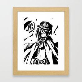 Kuro - monochrome anime girl Framed Art Print