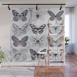 Black and white marble butterflies Wall Mural