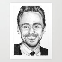 tom hiddleston Art Prints featuring Tom Hiddleston by Angie Siketa