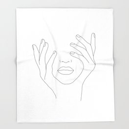 Minimal Line Art Woman with Hands on Face Throw Blanket