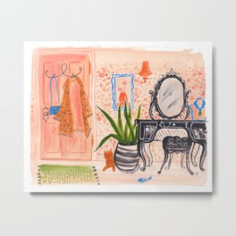 Dressing Room - Handpainted gouache painting with pink dressing room details, cat, fashion, beauty Metal Print