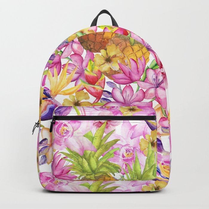 Tropical flower and pineapple watercolor art Backpack