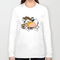 hobbes Long Sleeve T-shirts featuring Calvin and Hobbes caricature design by Eric Goodwin